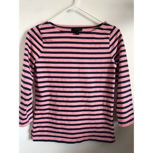 J. Crew Striped Boatneck Women's Pink Navy T-shirt